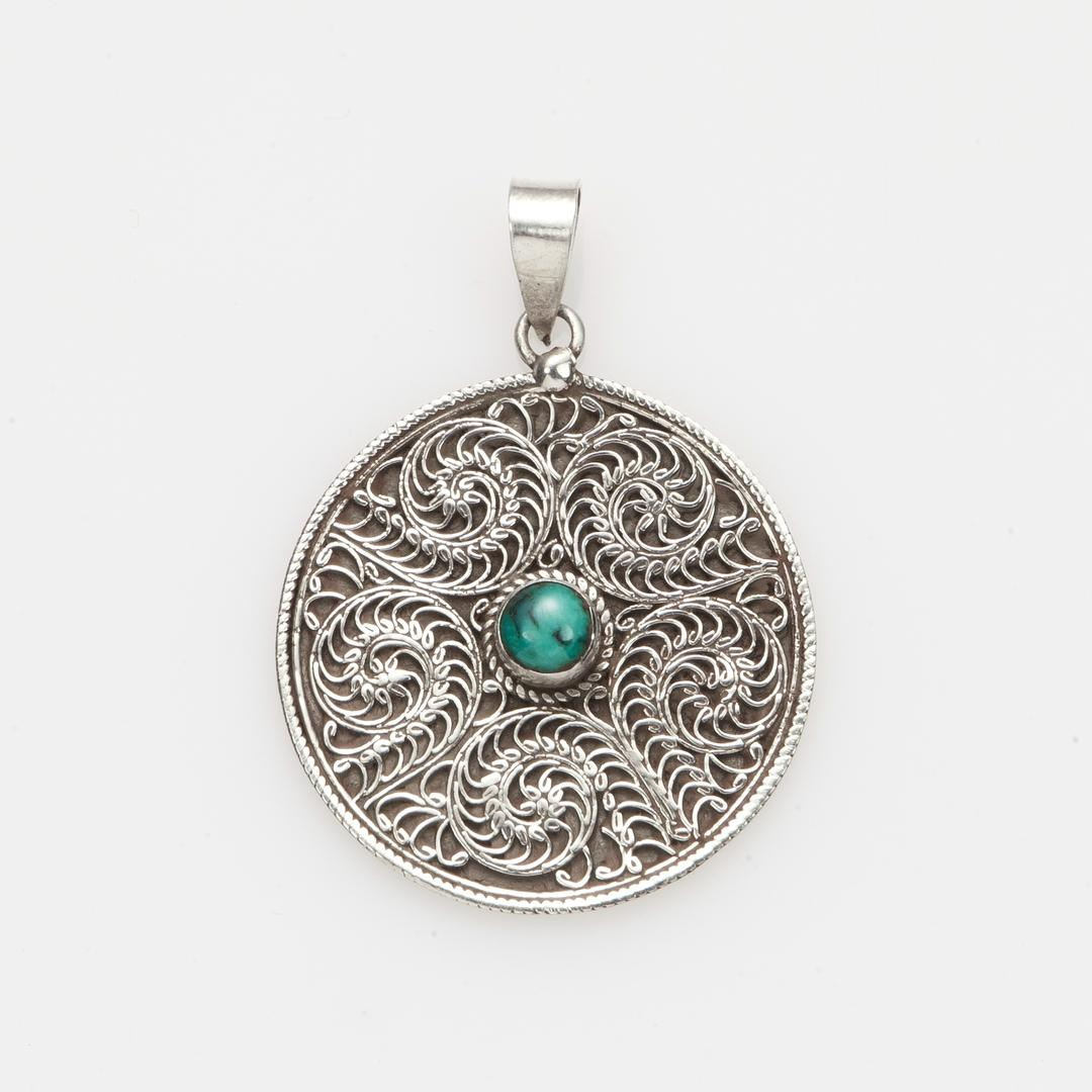 Pandantiv Kamma rotund, filigran, argint și turcoaz, Nepal