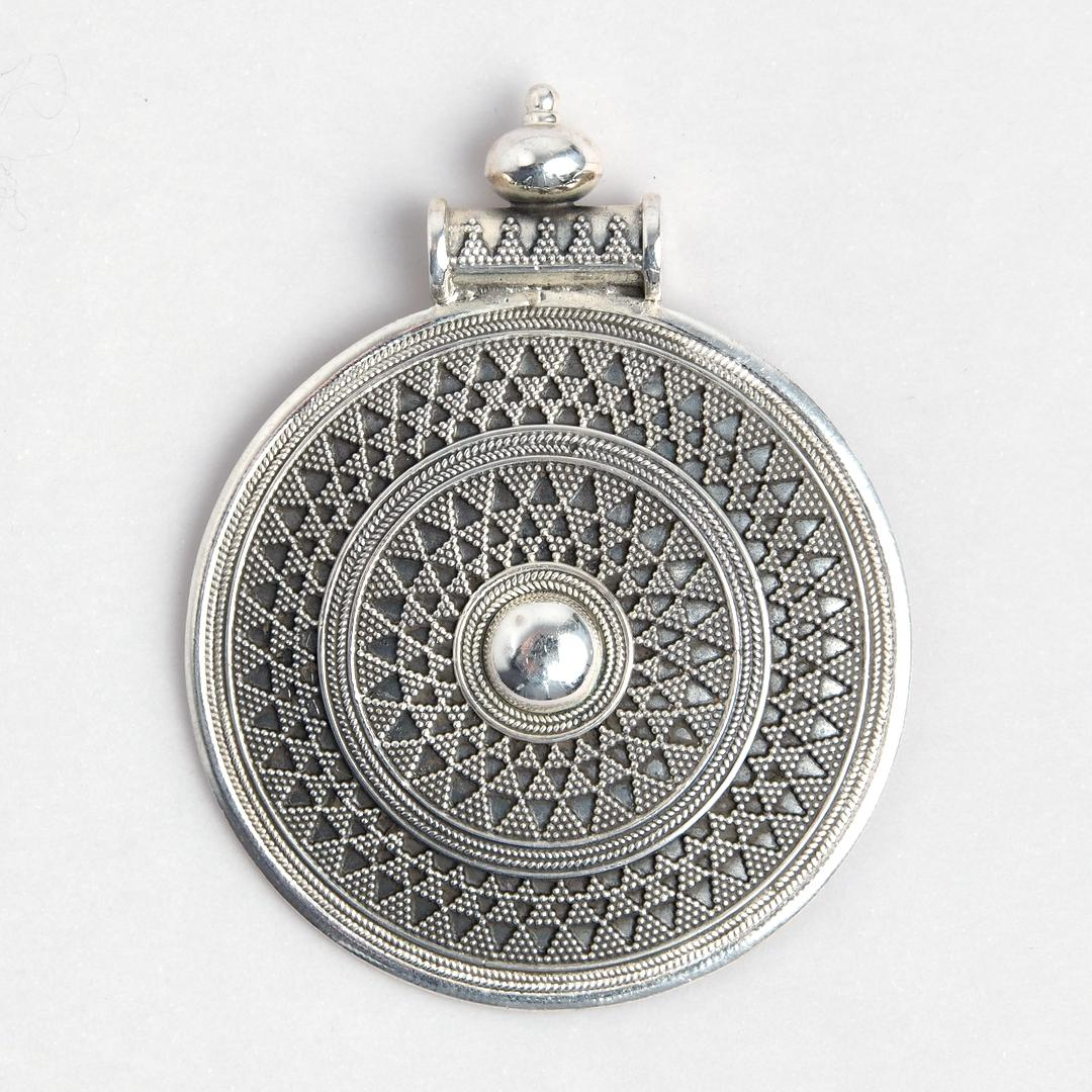 Pandantiv rotund granulație, argint, India