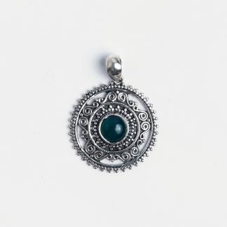 Pandantiv rotund Rohan, argint și onix verde, India