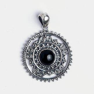 Pandantiv rotund Rohan, argint și onix negru, India