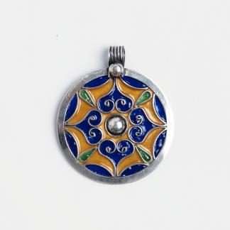 Pandantiv rotund Tayart, argint și email, Maroc