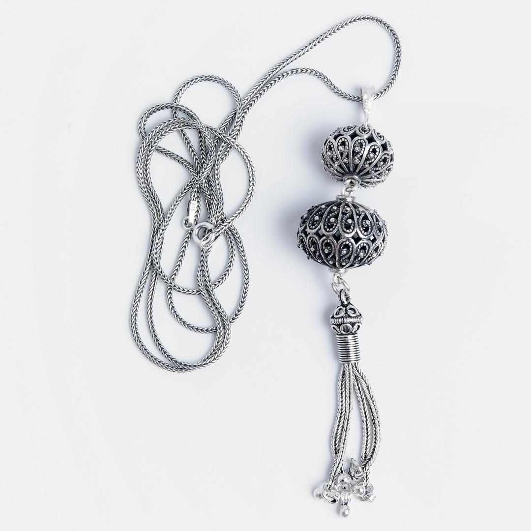 Pandantiv Singaraja cu lanț lung, argint, Indonezia