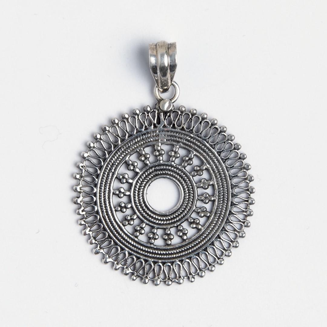 Pandantiv soare Varuna, argint oxidat, India