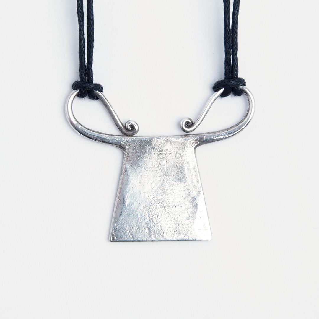 Pandantiv spirit lock Chang, argint și fir negru, Thailanda