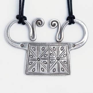 Pandantiv spirit lock Sanka, argint și fir negru, Thailanda