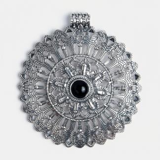Pandantiv statement Arya, argint și onix negru, India