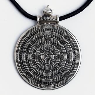 Pandantiv statement cer înstelat, argint patinat, India