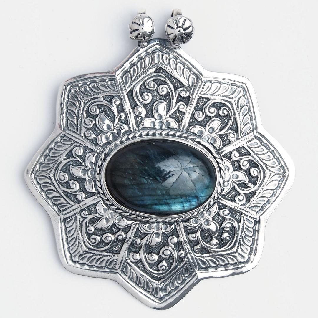 Pandantiv statement Lakshmi, argint și labradorit, India