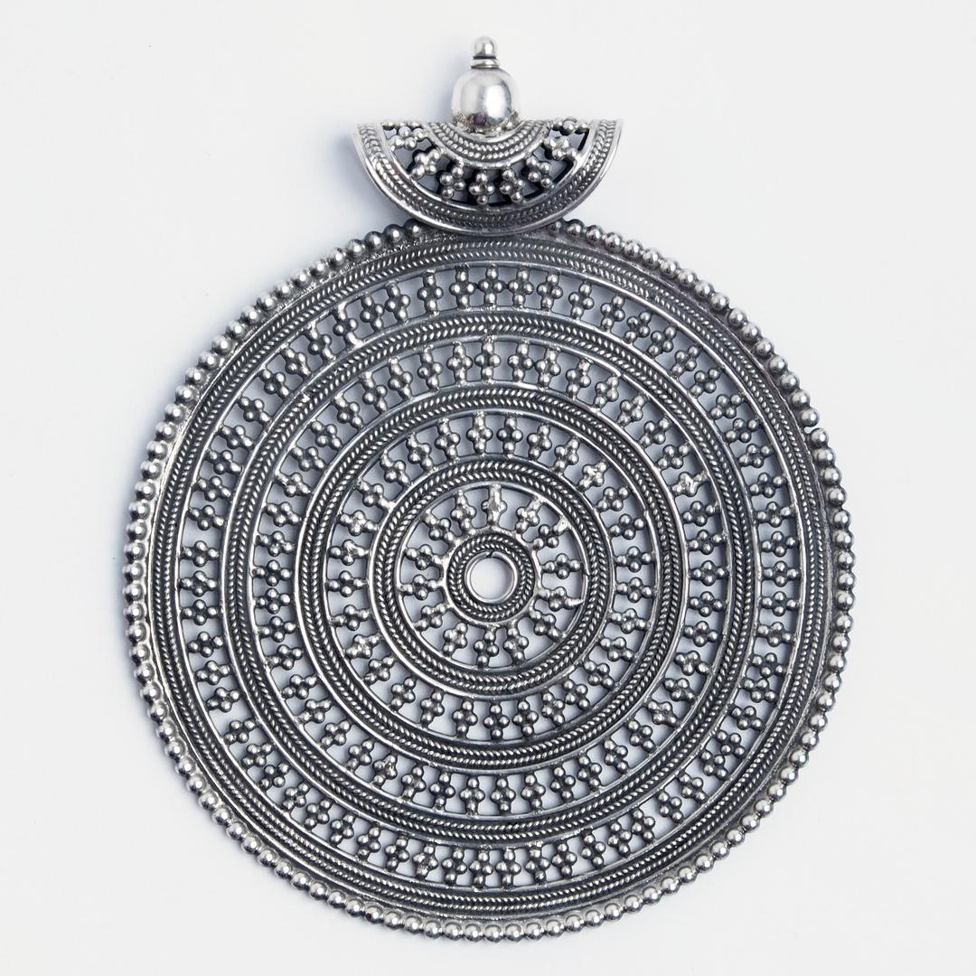 Pandantiv statement rotund filigran, argint, India