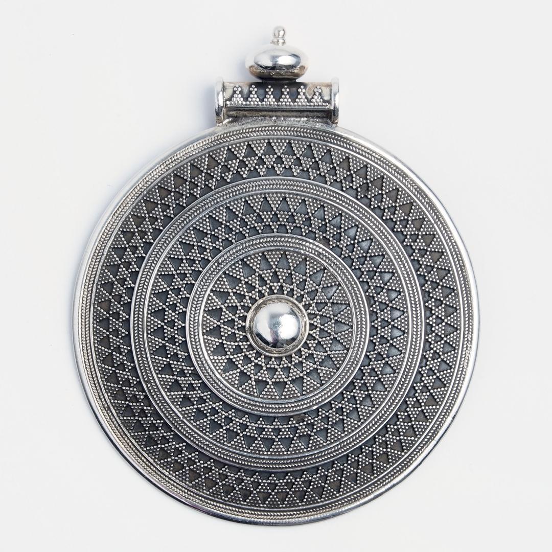 Pandantiv statement rotund, granulație, argint, India