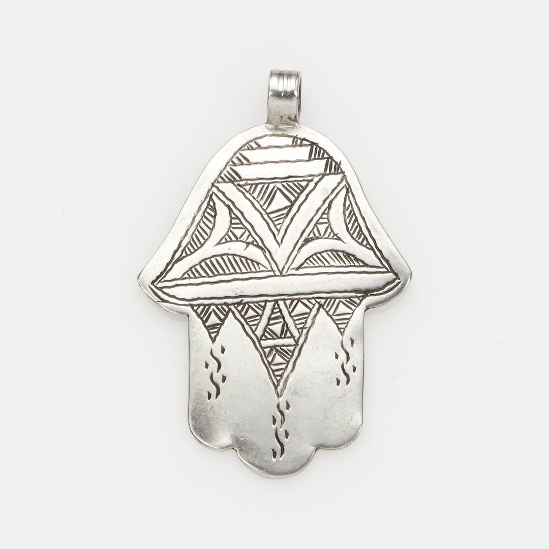 Pandantiv tuareg hamsa argint gravat