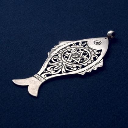 Pandantiv tunisian pește și steaua lui David, argint