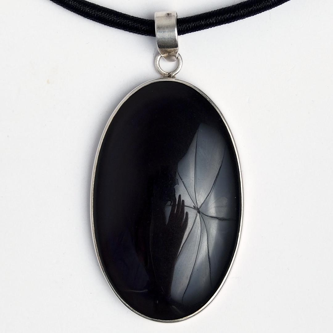 Pandantiv unicat argint și obsidian curcubeu, India