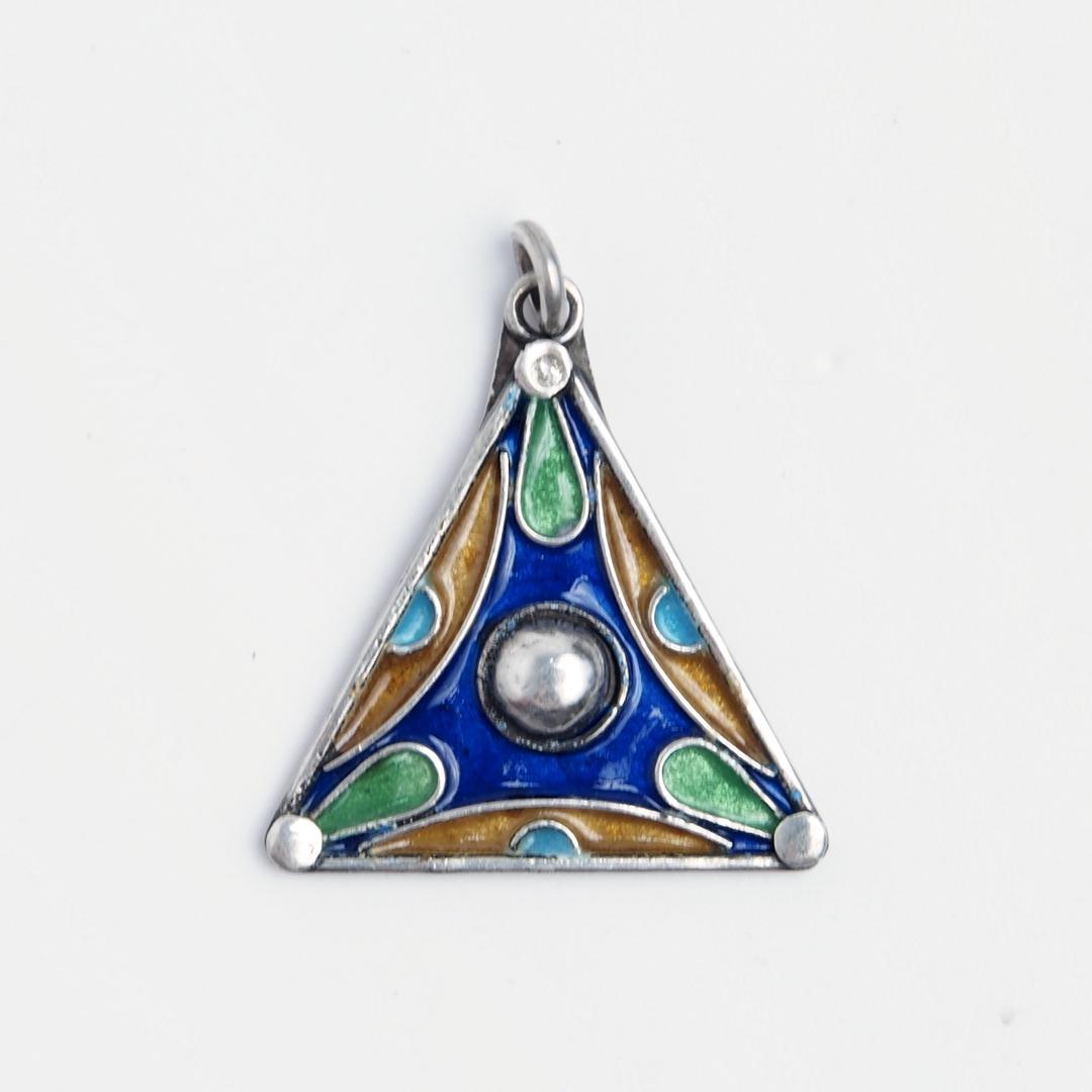 Pandantiv unicat triunghi, argint și email, Maroc