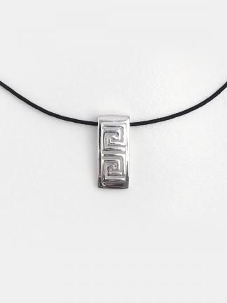 Pandantiv din argint Meandre dreptunghi cu șnur de 40 cm
