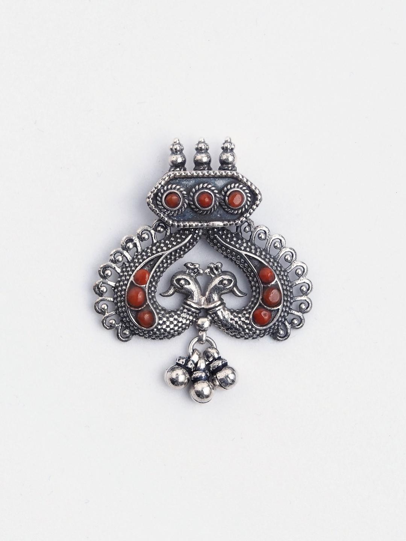 Pandantiv statement Mayura argint și coral, India