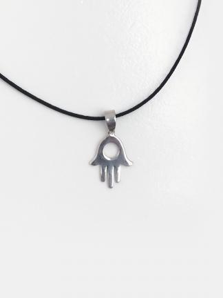 Pandantiv hamsa mică din argint cu șnur de 40 cm