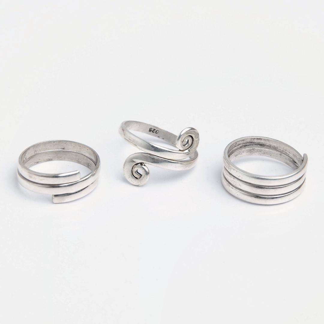 Set 3 inele de picior din argint Rhiya, India