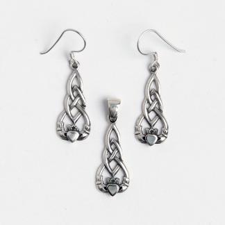 Set celtic cercei și pandantiv Dara-Claddagh, argint patinat și sidef