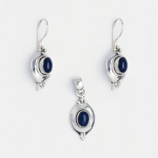 Set cercei și pandantiv Amravati, argint și lapis lazuli, India