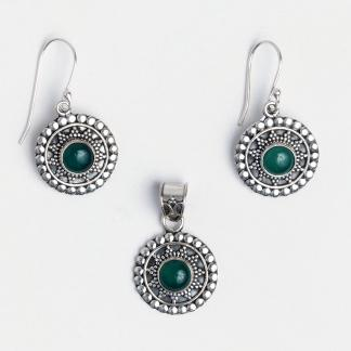 Set cercei și pandantiv argint și onix verde Kalyan, India