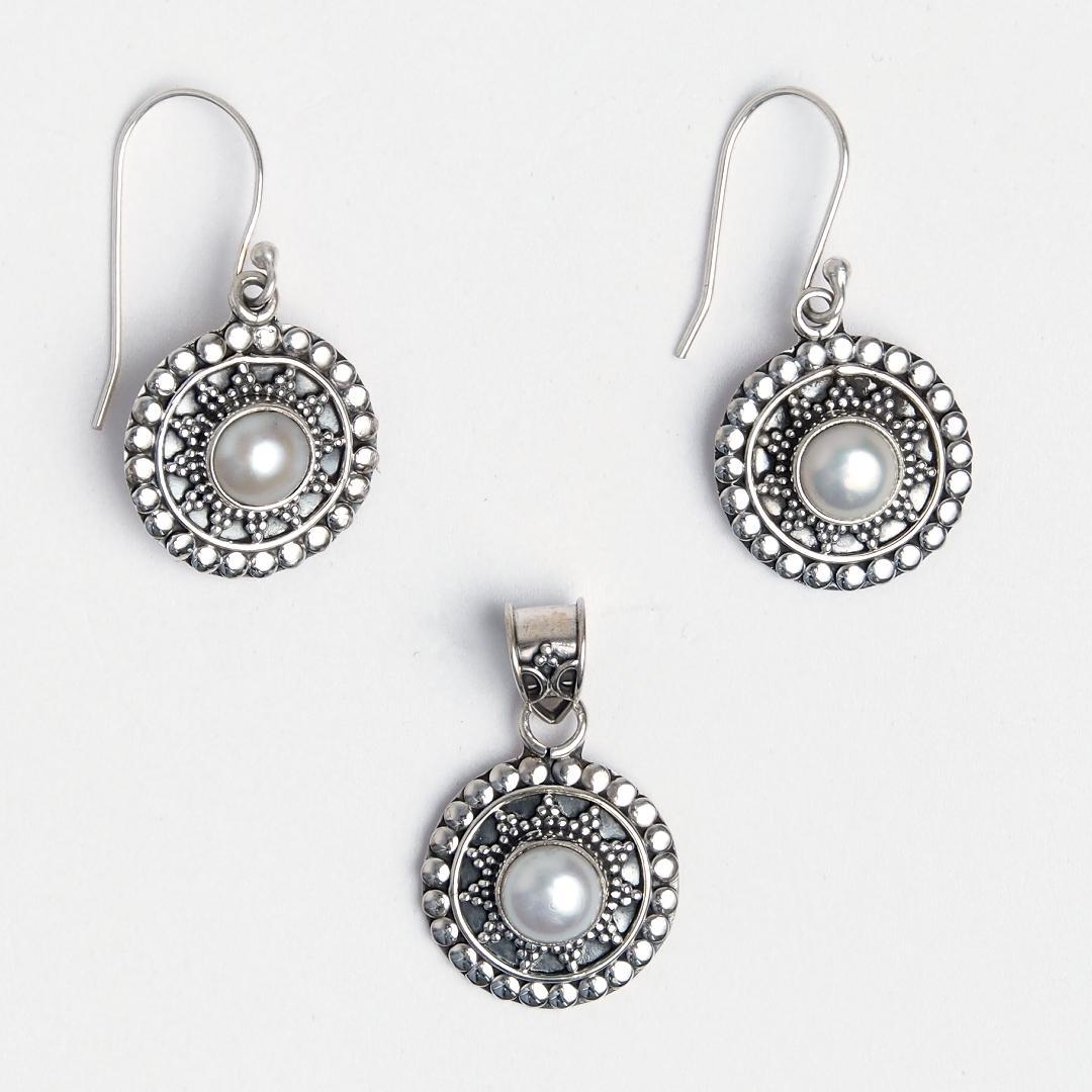 Set cercei și pandantiv argint și perlă Kalyan, India