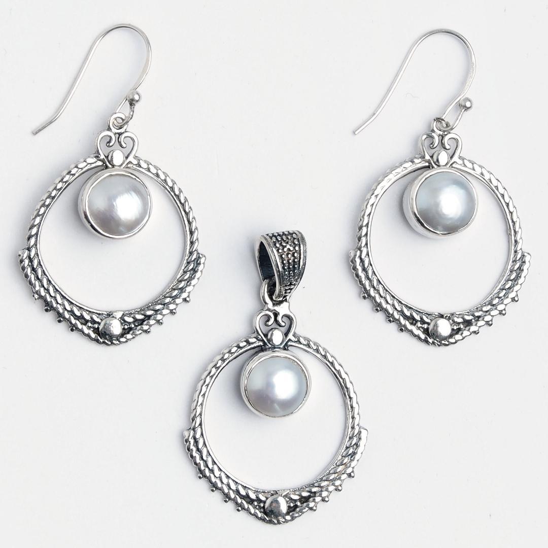 Set cercei și pandantiv Aruna, argint și perle de cultură, India