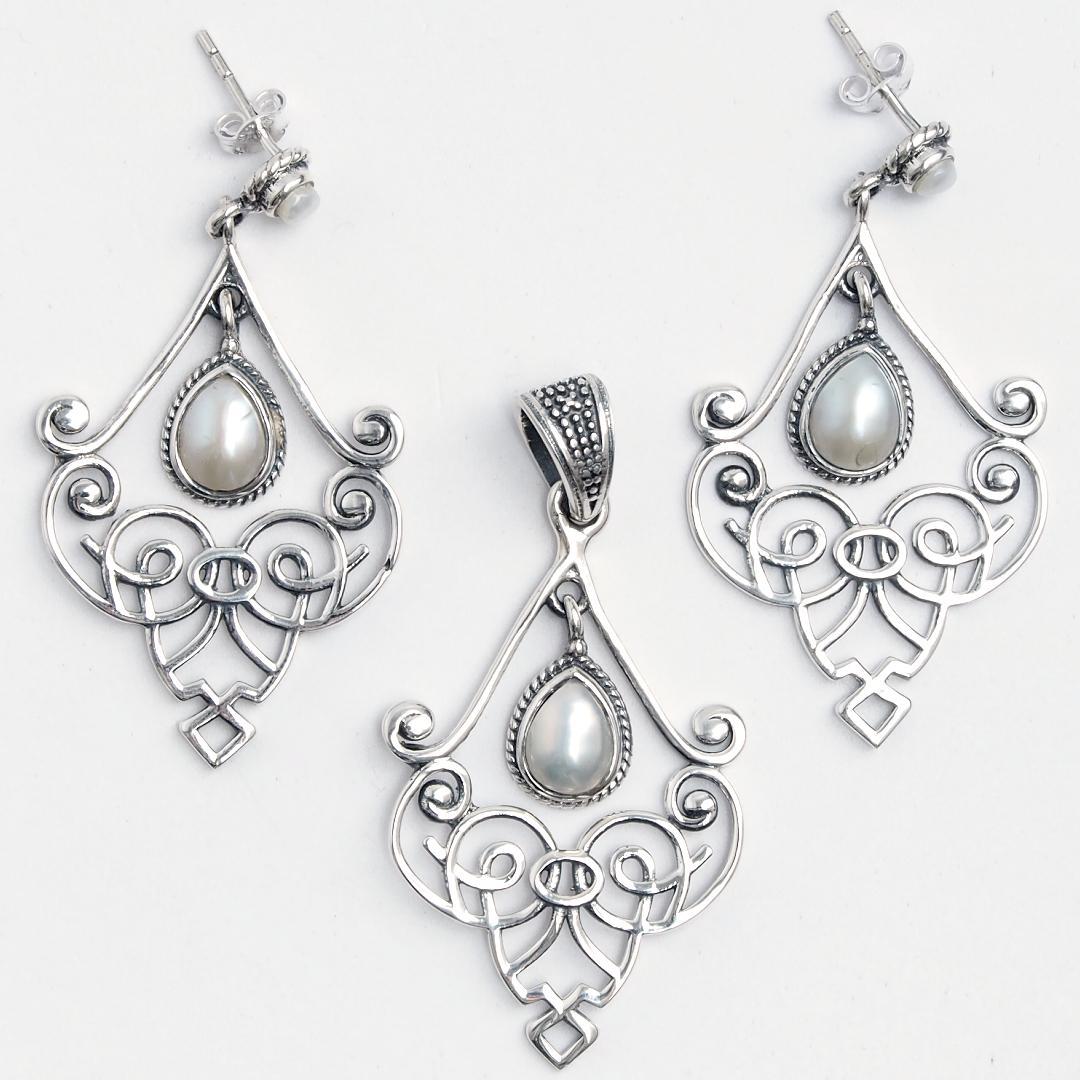 Set cercei și pandantiv candelabru Karimnagar, argint și perle de cultură, India