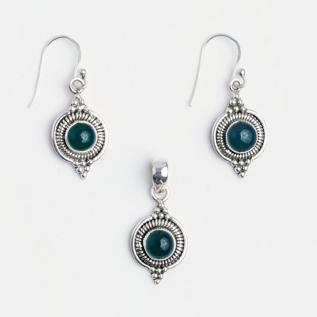 Set cercei și pandantiv Dharma, argint și agată verde, India
