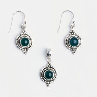 Set cercei și pandantiv Dharma, argint și onix verde, India