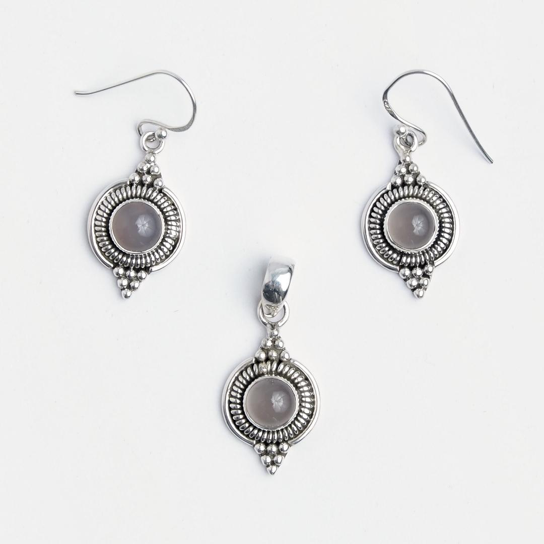 Set cercei și pandantiv Dharma, argint și cuarț roz, India