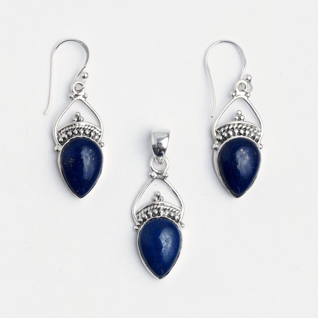 Set cercei și pandantiv Kamarhati, argint și lapis lazuli, India