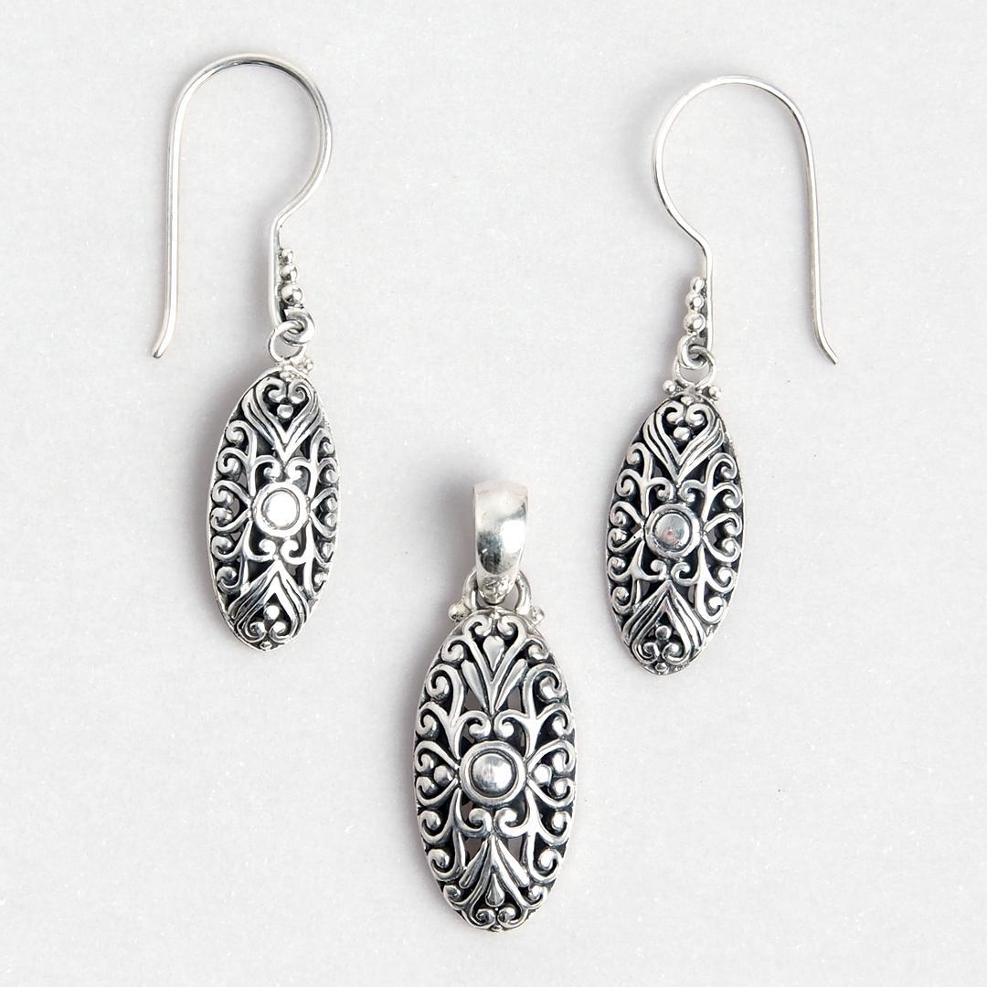 Set cercei și pandantiv oval, argint, Indonezia
