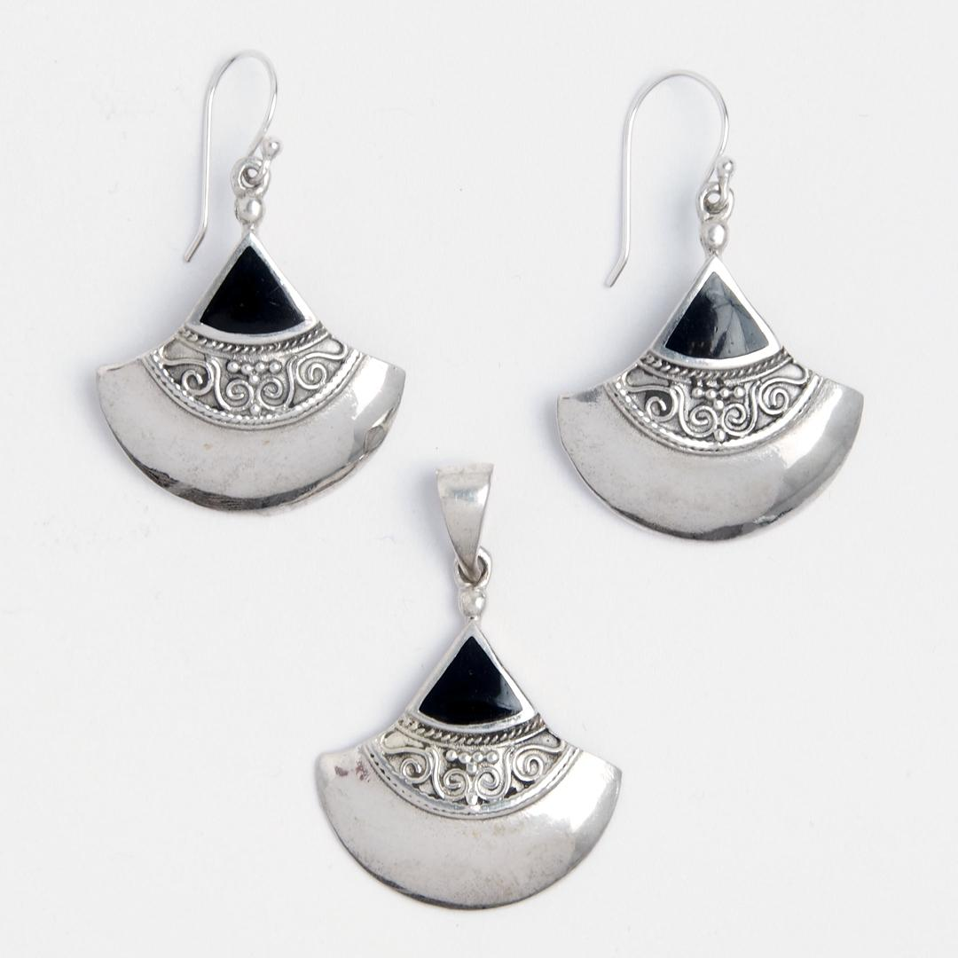 Set cercei și pandantiv Raya, argint și onix negru, Indonezia