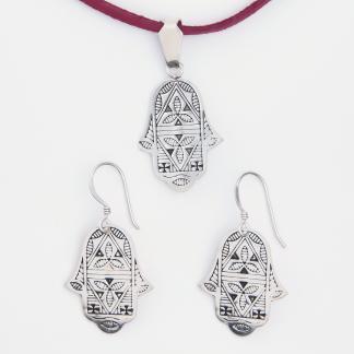 Set amuletă hamsa cercei și pandantiv din argint, Niger