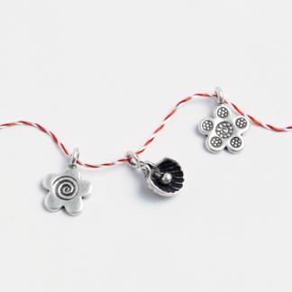 Set 3 mărțișoare din argint: floricică, boboc de floare, floricică