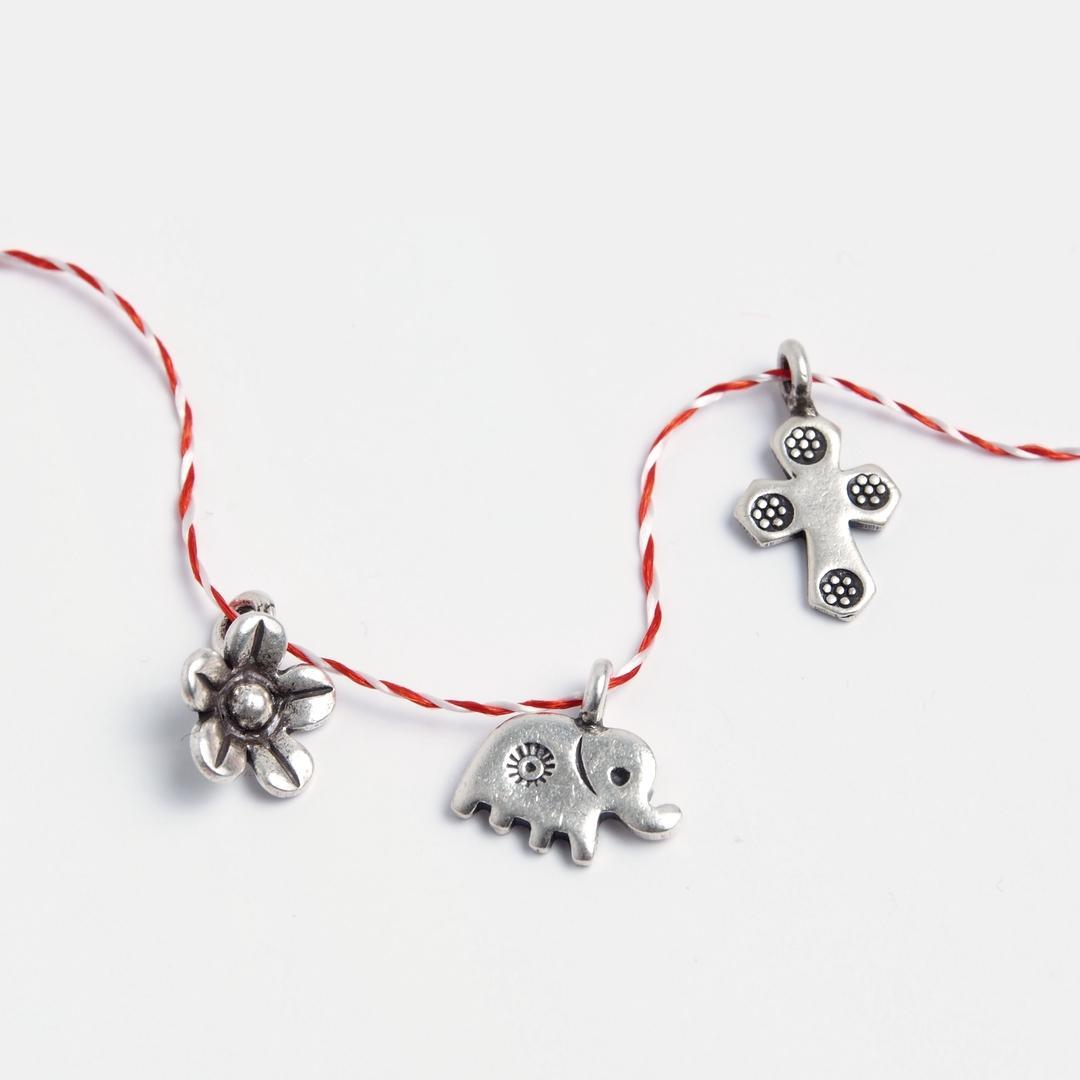 Set 3 mărțișoare din argint: floricică, elefănțel, cruciuliță