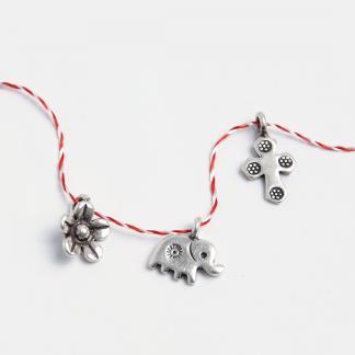 Set mărțișoare din argint: floricică, elefănțel, cruciuliță