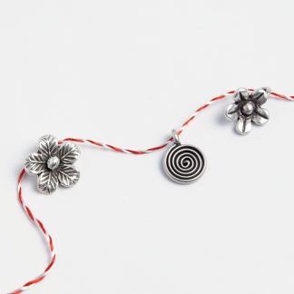 Set mărțișoare din argint: floricicele și spirală
