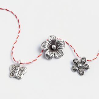 Set 3 mărțișoare din argint: fluturaș, floare, floricică