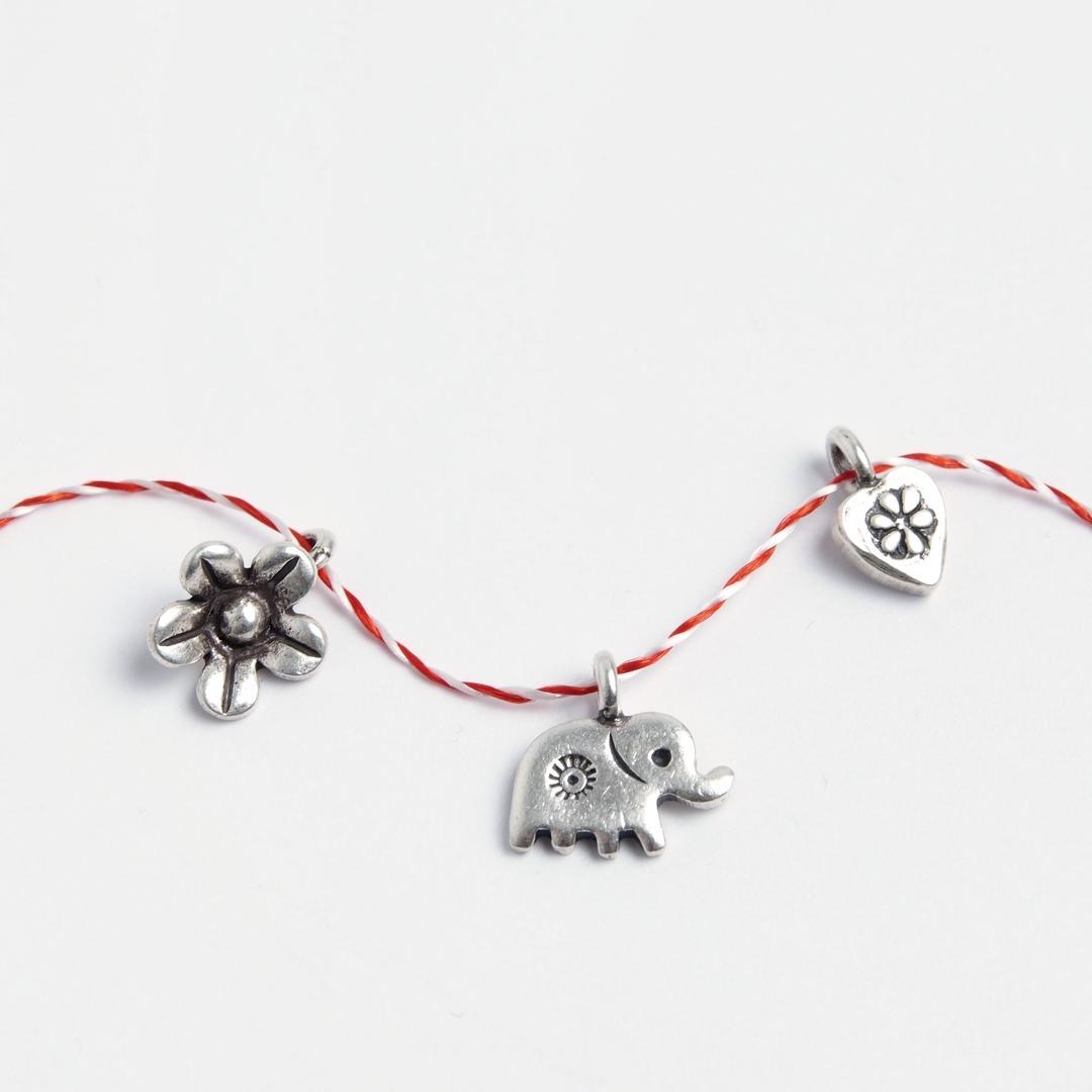 Set 3 mărțișoare din argint: inimioară, elefănțel, floricică
