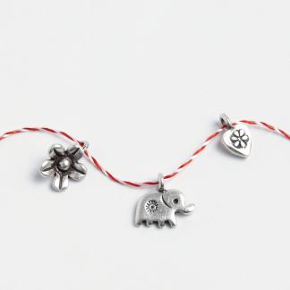 Set mărțișoare din argint: inimioară, elefănțel, floricică