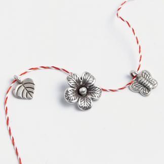 Set mărțișoare din argint: inimioară, floare, fluturaș
