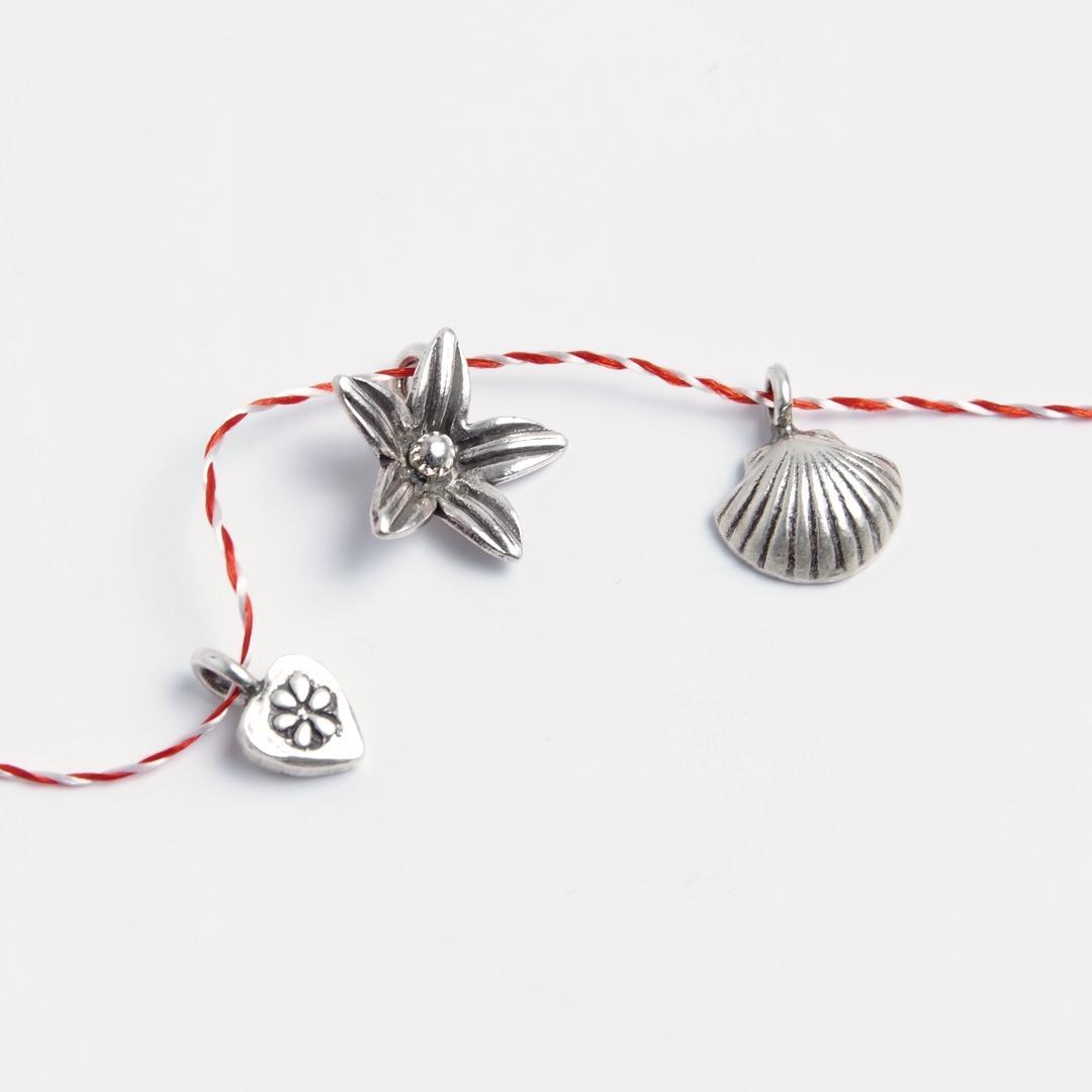 Set 3 mărțișoare din argint: inimioară, floare, scoică