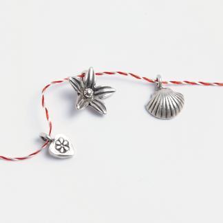 Set mărțișoare din argint: inimioară, floare, scoică