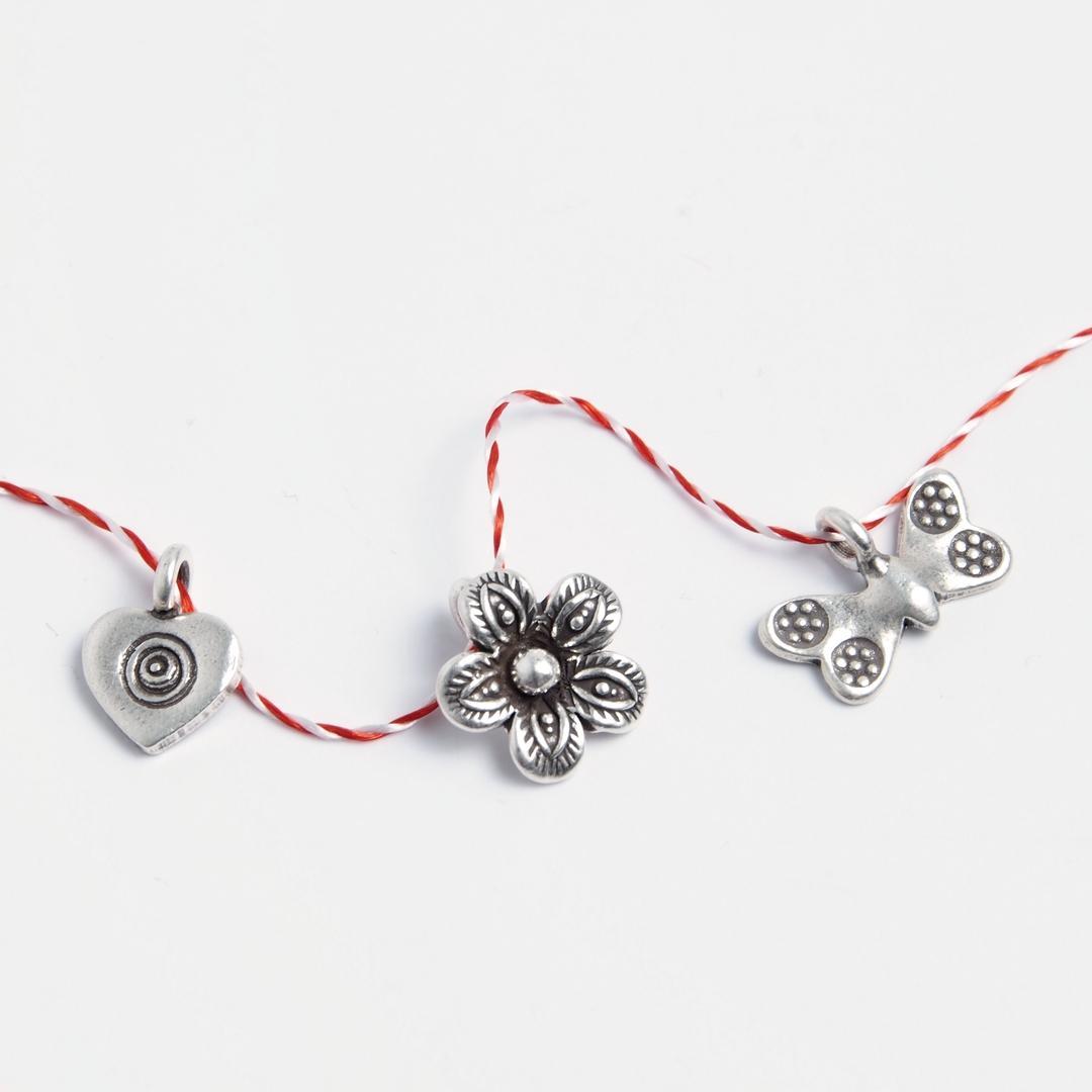 Set 3 mărțișoare din argint: inimioară, floricică, fluture