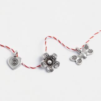 Set mărțișoare din argint: inimioară, floricică, fluture