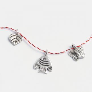 Set 3 mărțișoare din argint: inimioară, pește, fluturaș