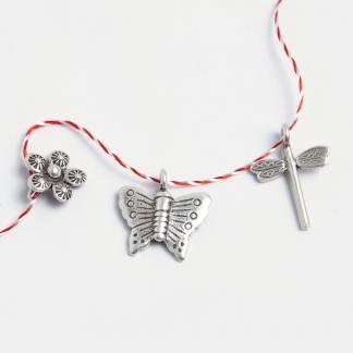 Set mărțișoare din argint: libelulă, fluture, floricică
