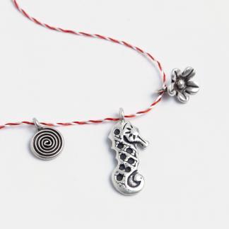 Set 3 mărțișoare din argint: spirală, căluț de mare, floricică